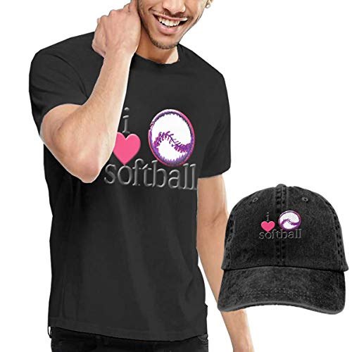 I Love Softball Heart Men's Short Sleeve T-Shirts & Baseball Caps Hats