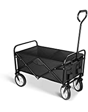 YSSOA Collapsible Garden Cart, Outdoor Camping Folding Wagon Utility, Garden Shopping Cart with 360 Degree Swivel Wheels & Adjustable Handle, 220lbs Weight Capacity, Black