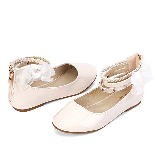 nerteo Girls Shoes Ballet Flats Kids Comfort Walking Shoes for Wedding, Party Ivory 4 M US Big Kid