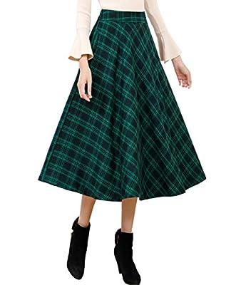 Femirah Women's Elastic Waist Midi Skirt A-Line Pleated Vintage Plaid Winter Swing Skirts