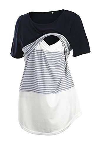 Pinleck Women's Maternity Lace Striped Nursing Tops Short/Lo