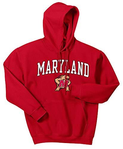 Maryland Terps Ncaa Hoody - Elite Fan Shop NCAA Men's Maryland Terrapins Hoodie Sweatshirt Team Color Arch Maryland Terrapins True Red X Large
