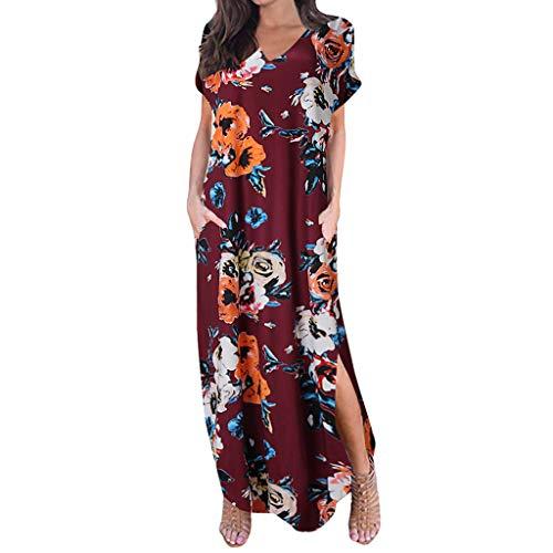 Floral Maxi Dresses for Women,ONLYTOP Women's Casual Loose Pocket Long Dress Short Sleeve Split Maxi Dresses ()