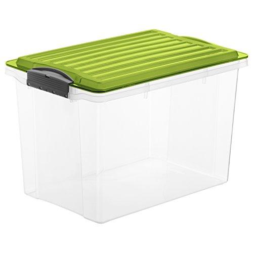 Rotho Aufbewahrungs-Box COMPACT transparent mit Deckel in grün, Lager Box aus Kunststoff im DIN A4 Format, Inhalt 19 Liter, Plastikbox ca. 39,5 x 27,5 x 27 cm