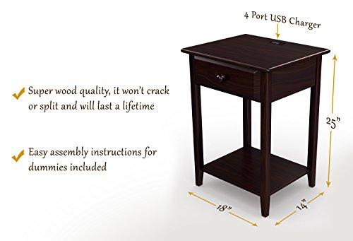 stony edge night stand end accent table w usb port espresso 17 storage furni ebay. Black Bedroom Furniture Sets. Home Design Ideas