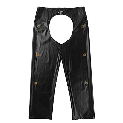 YiZYiF Men's Faux Leather Cowboy Costume Hollow Out Motorcycle Chaps Buckled Pants Black Medium ()