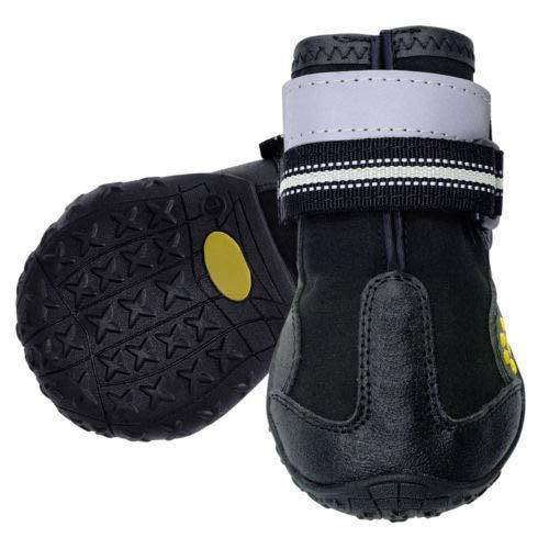 FidgetGear 4pcs Reflective Large Dog shoes Waterproof Boots Booties for redtweiler Bulldog Black 5
