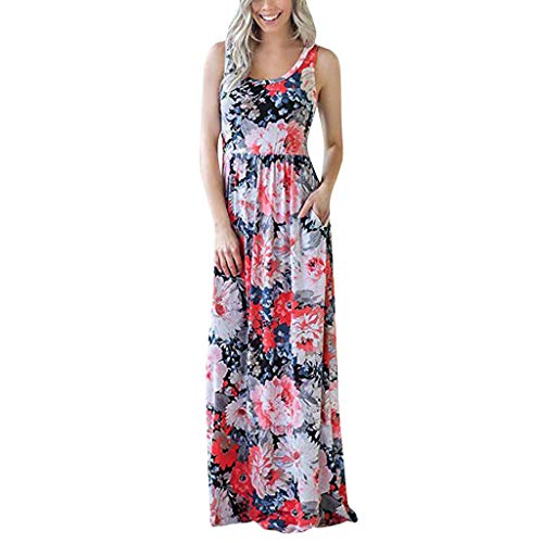 (TOTOD Dress - Womens Sleeveless Bohemian Tie-Dye Illusion Print Racerback Long Tank Beach Sundress)