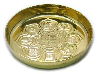 Pure Brass Plate - Asthavinayaka - Contains 8 Different Hindu Religious Signs