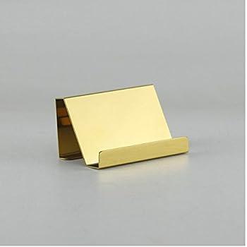 Amazon desktop gift gold plated solid brass business card chris wang 1pc mirror finish titanium alloy office desktop name card display desk stand business card holder file organizertransverse golden colourmoves