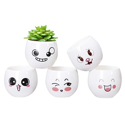 LOHOME Flourished Oval Planter Favor Ceramics Flower Pot for Home Office Desk Garden Decoration Set of 5 (Plant Not Include) (Style 4)