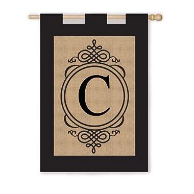 Burlap Monogram House Flag - C with Wood Pole