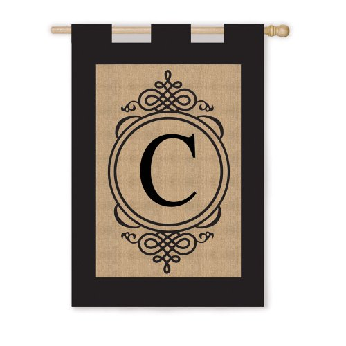 """Monogram Vertical Flag Letter: C (28"""" x 40"""")"""