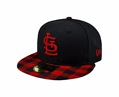 New Era 59fifty MLB St. Louis Cardinals Hat Premium Fitted Black with Red Cap