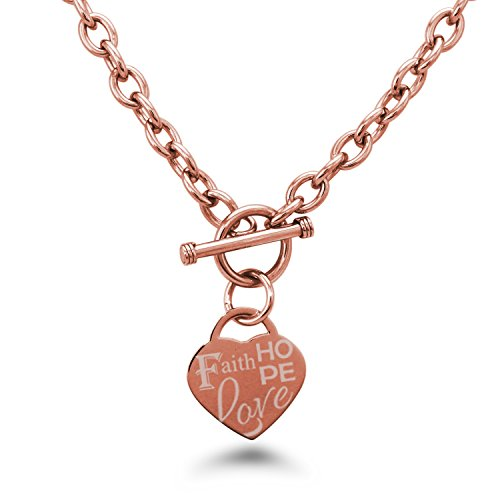 (Rose Gold Plated Stainless Steel Faith Love Hope Engraved Heart Tag Charm, Necklace Only)