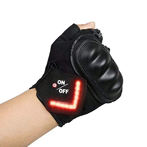 LAFEINA LED Turn Signal Cycling Gloves, Mountain Bike Gloves USB Charging Cable, Half Finger Outdoor Gloves Indicator Light Riding, Gym, Sports (X-Large)