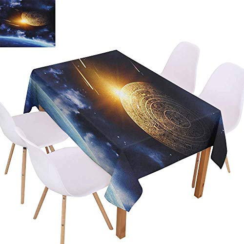 (Waterproof Tablecloth Galaxy Maya Calendar with Outer Space Background with Earth Mystical Astral Meteor View Party W52 xL72 Blue Yellow)