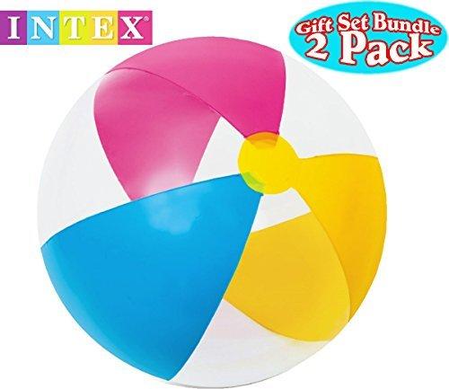 Intex Paradise Beach Balls 24 Bright Colors Gift Set Bundle - 2 Pack