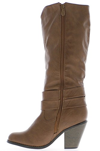 lace shiny camel Boots women high heel 8cm leather look qxUafxw
