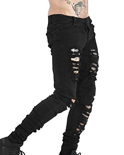 Negro del Hombre Pantalones Desgarros para Vaqueros Lavado Ajustados Vagabundo Vaqueros con Estilo Zp6PPqw