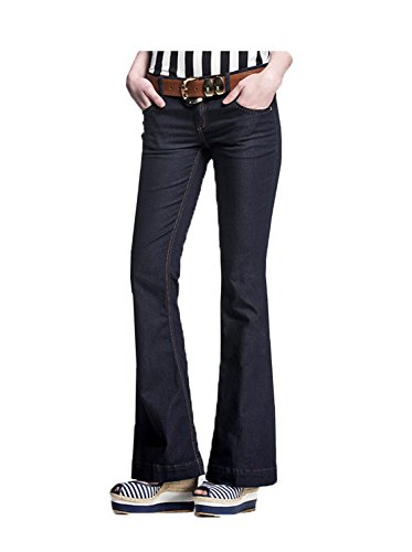 Womens High Waisted Basic Relaxed Bootcut Denim Jeans Black 16