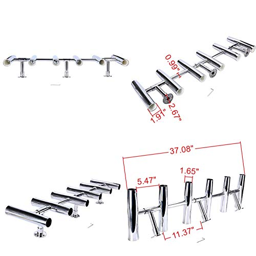 Amarine-made 6 Tube Adjustable Stainless Rocket Launcher Rod Holders, Can Be Rotated 360 Deg Review