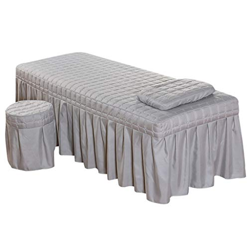 Massage Hotel Face Table Linen Set Bed Skirt Valance Sheet with Face Breath Hole Pillow Case Stool Cover for Beauty Salon Tattoo - Grey-S