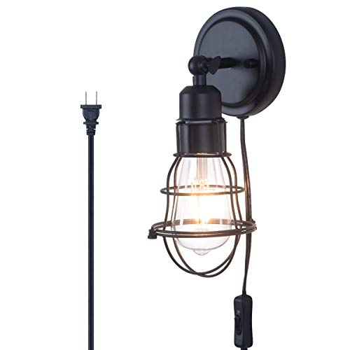 Lanros Plug-in Wall Light, Industrial Wire Cage E26 Base Vintage Style Wall Sconce with 4.75ft Adjustable ON/Off Switch Cord, Rustic Black 1-Light for Headboard Porch Garage Master Bedroom Farmhouse Black 4.75' Black House