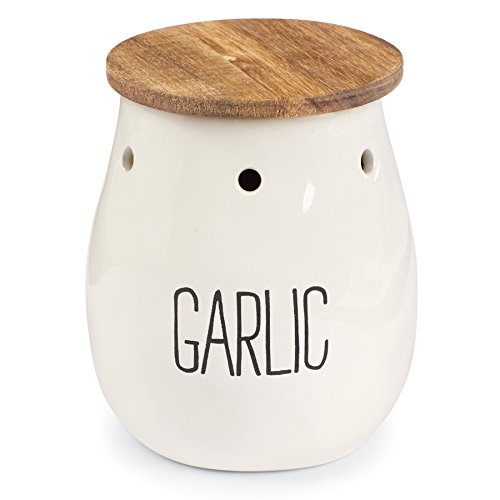 Mud Pie Ceramic Garlic Storage Keeper, - Keeper Garlic White