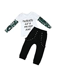 GRNSHTS Baby Boys Spliced Sleeve Band Pants Set Top + Pants