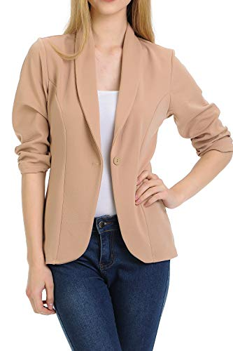 MINEFREE Women's 3/4 Ruched Sleeve Lightweight Work Office Blazer Jacket Mocha M