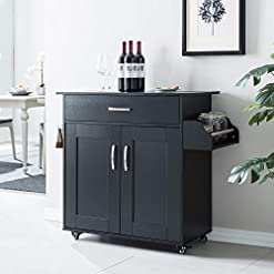 Kitchen Cozy Castle Kitchen Island on Wheels Kitchen Cart Trolley with Storage, Drawers, Cabinet, Towel Rack and Wood Top… modern kitchen islands and carts