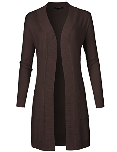 Solid Soft Stretch Long-line Long Sleeve Open Front Knit Cardigan Brown M