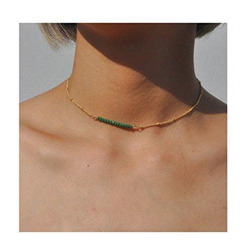 Joya Gift Dainty Beads Gold Choker Necklace for Women Simple Boho Minimalist Jewellry