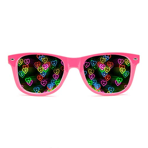 GloFX Heart Effect Diffraction Glasses - See Hearts! - Special Effect Rave EDM Festival Light Changing Eyewear (Pink)