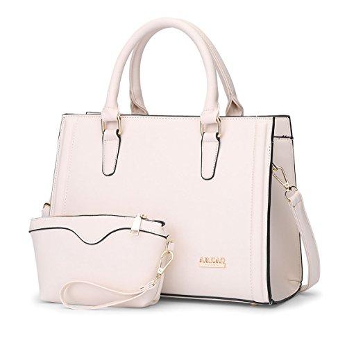 Qjfashion Women's Simple Leather Handbag Cross Tote Messenger Shoulder Bag Purse (off-white) Qjwaa0768