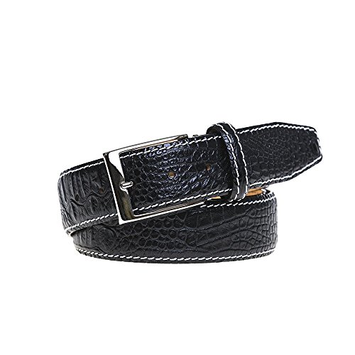 Black Italian Mock Croc Leather Belt - Black Croc Belt