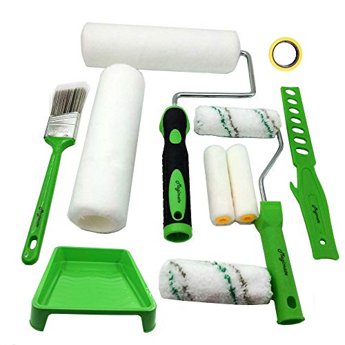 Magimate Paint Roller Kit 9 Inch 4 Inch Roller Set with Frames, Cover Refills, Angled Brush, Paint Stick, Masking Tape and a Durable Paint Tray for Professional and DIY Indoor and Outdoor Painting ()