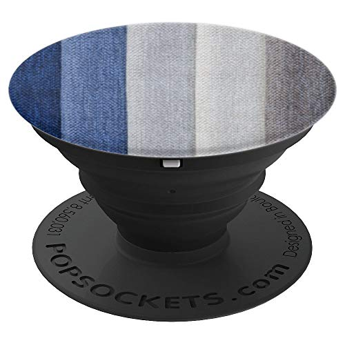 Denim Swatch Cloth Color Contrast Minimal Blue Design White - PopSockets Grip and Stand for Phones and Tablets
