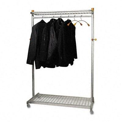 Alba - Two-Sided, Two-Shelf Coat Rack, Six Hangers/Six Hooks, Chrome, Mahogany - Sold As 1 Each - Stylish combination of steel tubing and wood detail.