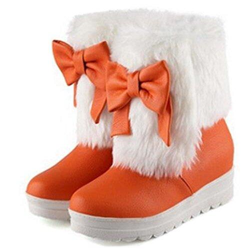 利益石化するどちらか女性用暖かい快適な蝶結びラウンドトウ厚いソールドレスPlatform Slip Onフラットアンクル雪ブーツブーティ靴
