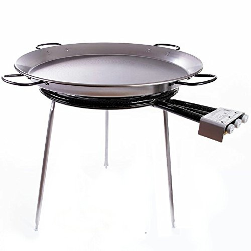 Paella Pan Polished Steel + Paella Gas Burner and Stand Set - Complete Paella Kit for up to 40 Servings by Vaello