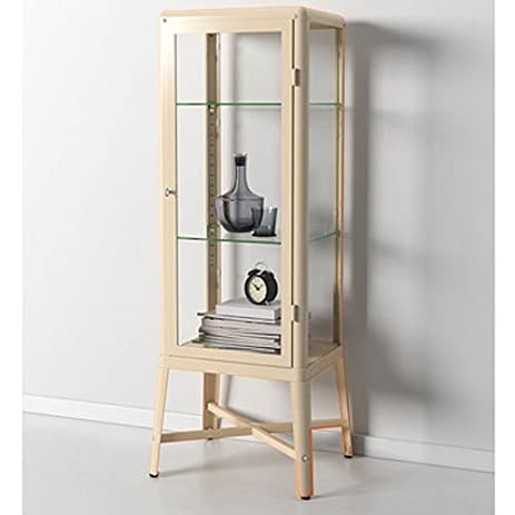 Amazon.com: Ikea Fabrikor Glass Door Cabinet , Beige , Lockable ...