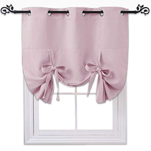 (NICETOWN Blackout Curtain Insulated Blind - Thermal Tie Up Shade for Kitchen Window (Lavender/Baby Pink, Grommet Top Panel, 46