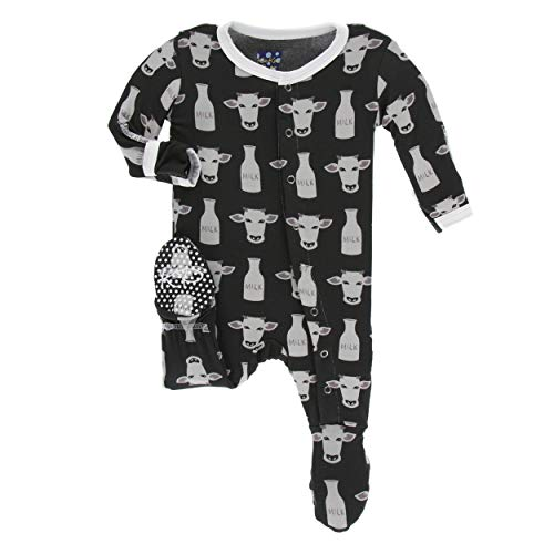 Kickee Pants Little Boys Print Footie with Snaps - Zebra Tuscan Cow, 18-24 Months