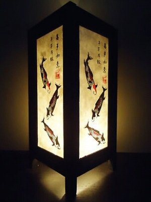 Thai Vintage Handmade ASIAN Oriental 3 Lucky Koi Fish Japanese Art Bedside Table Lamp Lighting Shades by Thai Lanna Lump