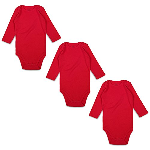 Red Onesies - OPAWO Baby Bodysuits Long Sleeve for Unisex Boys Girls 3 Pack (0-3 Months, Red)