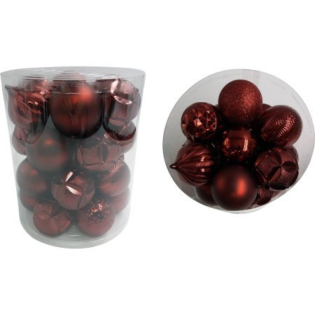 t Red Intensity Shiny Matte Glitter Ball Ornaments ()