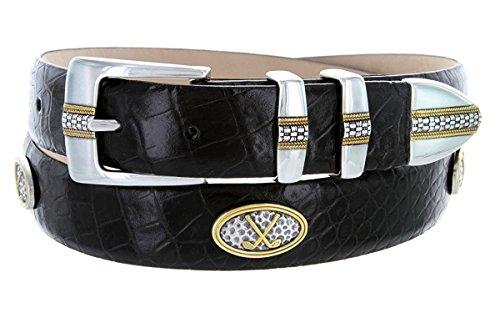 - Hagora Men Genuine Italian Leather Golf Motifs Conchos 1-1/8
