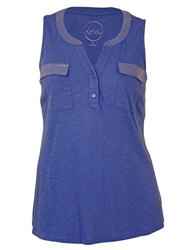 International Concepts Women's Sleeveless Sequined Henley Top (Mermaid Blue, 1X)
